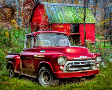1957 Chevy Red Truck with Red Barn Panel 36in