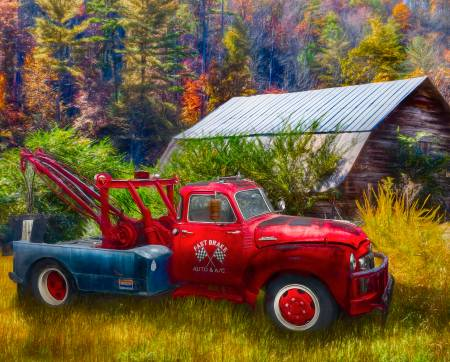 Vintage Red Towing Truck in Autumn Colors Panel 36in