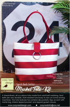 Market Tote Seat Belt Bag Kit in Red and White
