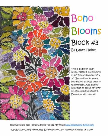 BOHO Blooms Block #3 Collage Pattern by Laura Heine