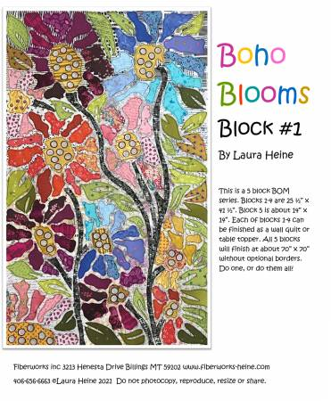BOHO Blooms Block #1 Collage Pattern by Laura Heine