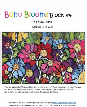 BOHO Blooms Block #4 Collage Pattern by Laura Heine