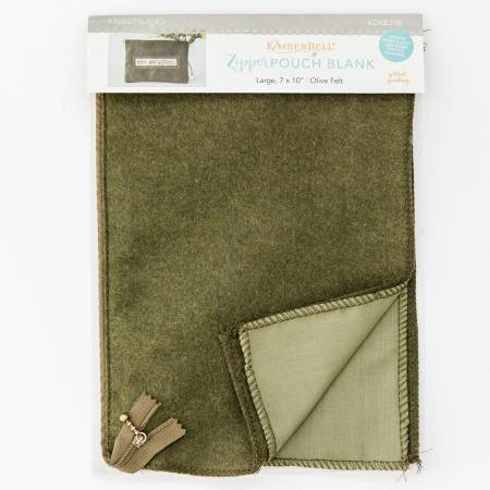 Zipper Pouch Blank Olive Felt Large