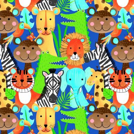 Blue Jungle Animals Comfy Flannel