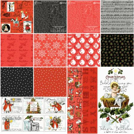 All About Christmas 1 Yard Bundle Red, 14 Pcs.