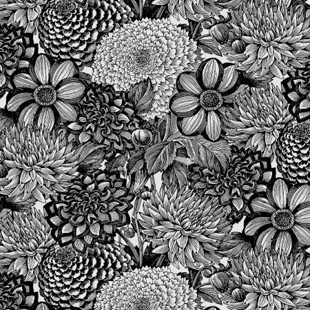 Black/White Floral Toile 108in Wide Back