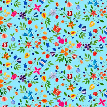 Blue Small Floral