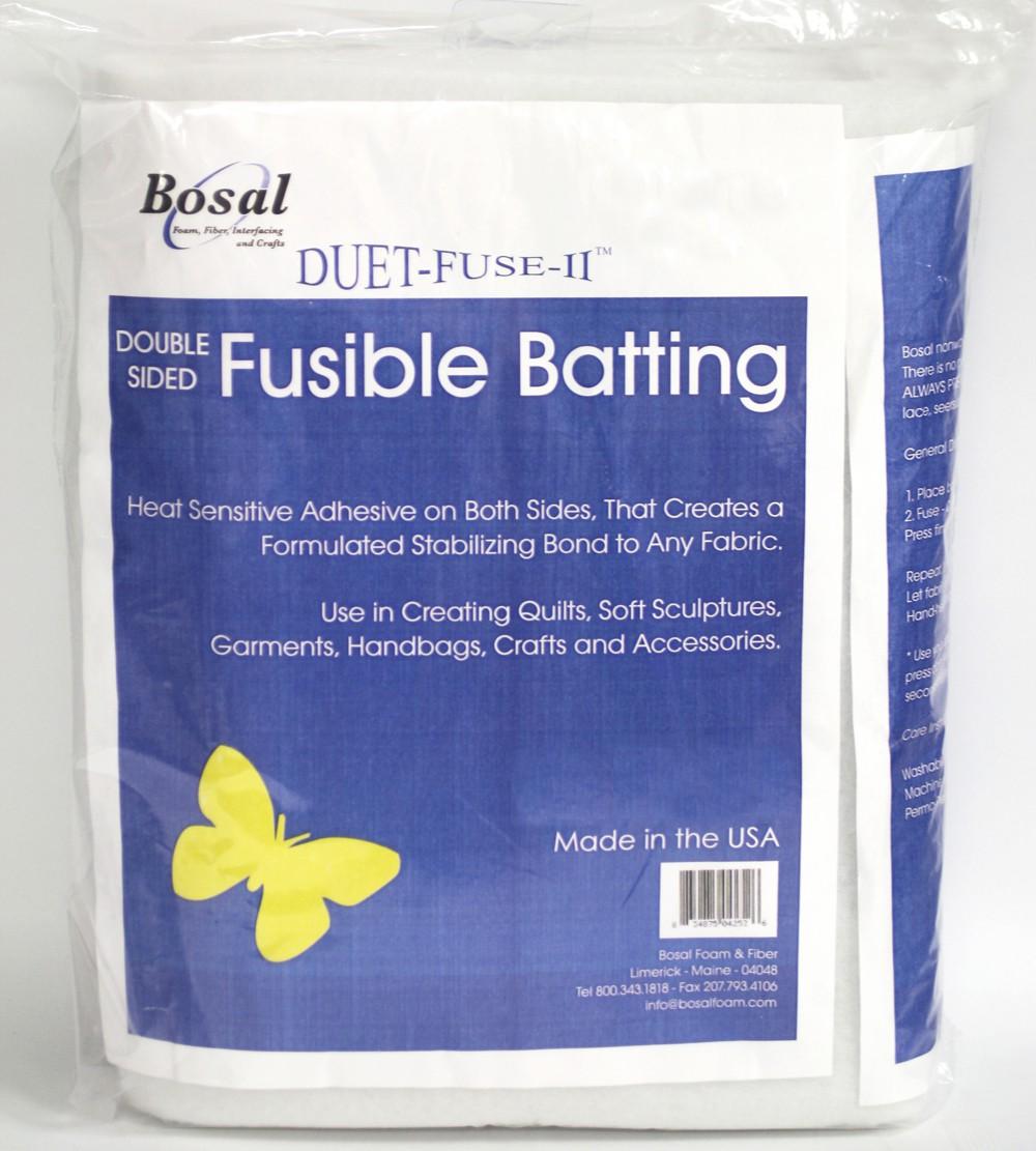 white Bosal Foam /& Fiber 4252B-25 Duet Fuse II Double Sided Batting Camden Bag Precut Fusible