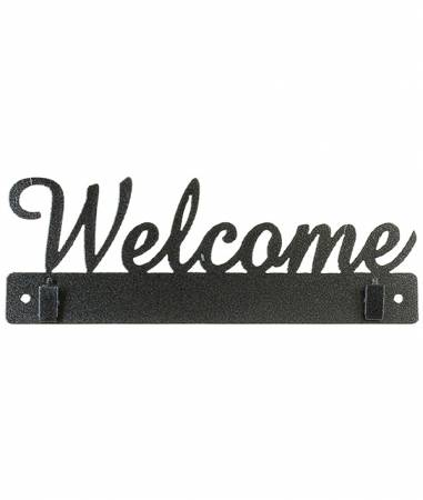 10in Welcome With Clips Charcoal