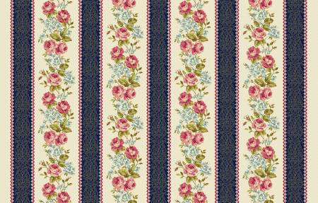 Multi Floral Border Stripe w/Metallic