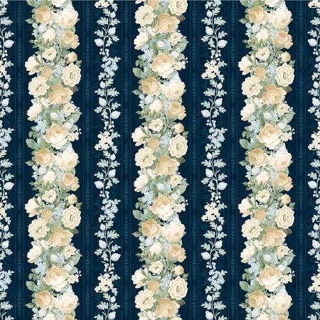 Multi Sapphire Blossoms Repeating Stripe