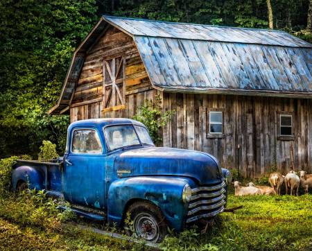 Blue Truck at the Barn Digital Panel 36in