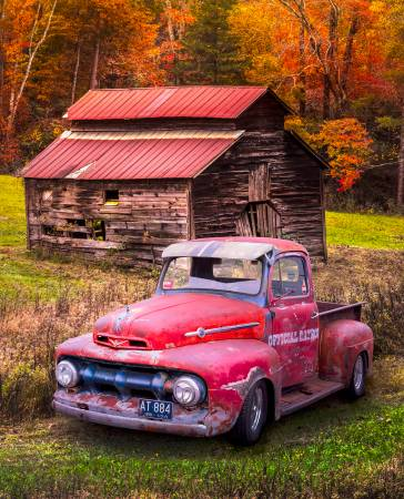 Vintage Red Ford Truck in Autumn Colors Panel 36in