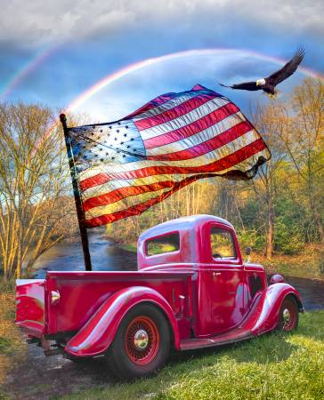 American Patriotic Red Truck Panel 36in