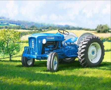 1823 Blue Tractor Panel 36in