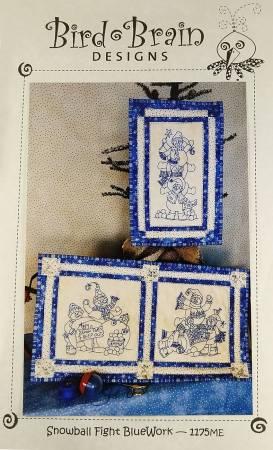 Snowball Fight Bluework Machine Embroidery