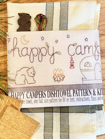 Happy Campers Dishtowel Pattern and Kit