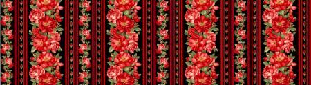 Black Rose Border Stripe, 11in Stripe selvedge to selvedge