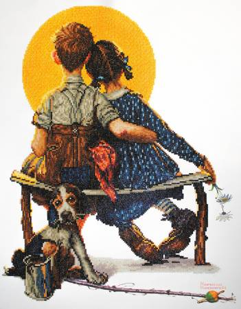 Boy and Girl Gazing at the Moon Diamond Painting Kit 20.5in x 26.4in