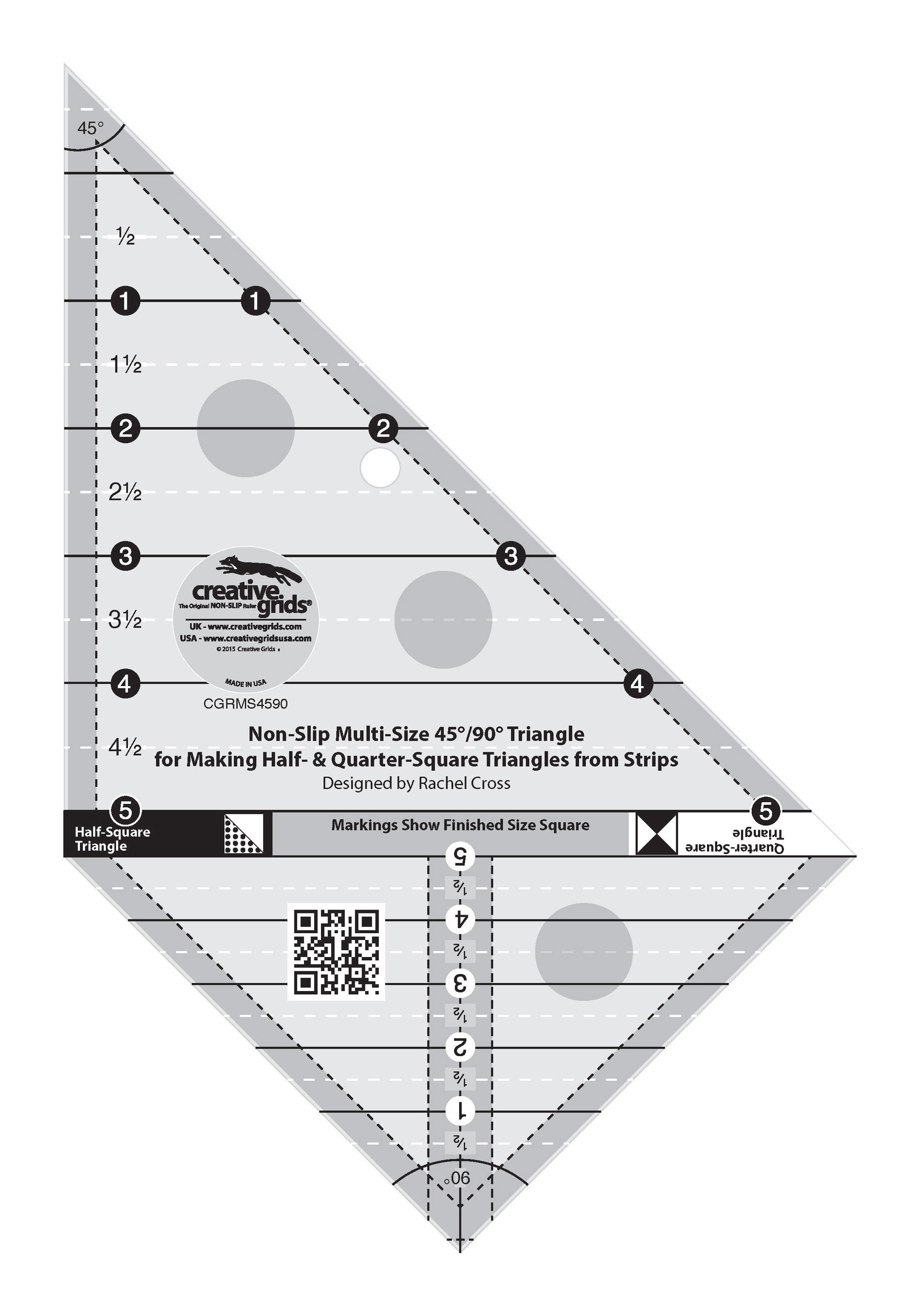 """Non-Slip Quilt Ruler from Creative Grids, 60 Degree Triangle 12/"""" Finished Size"""