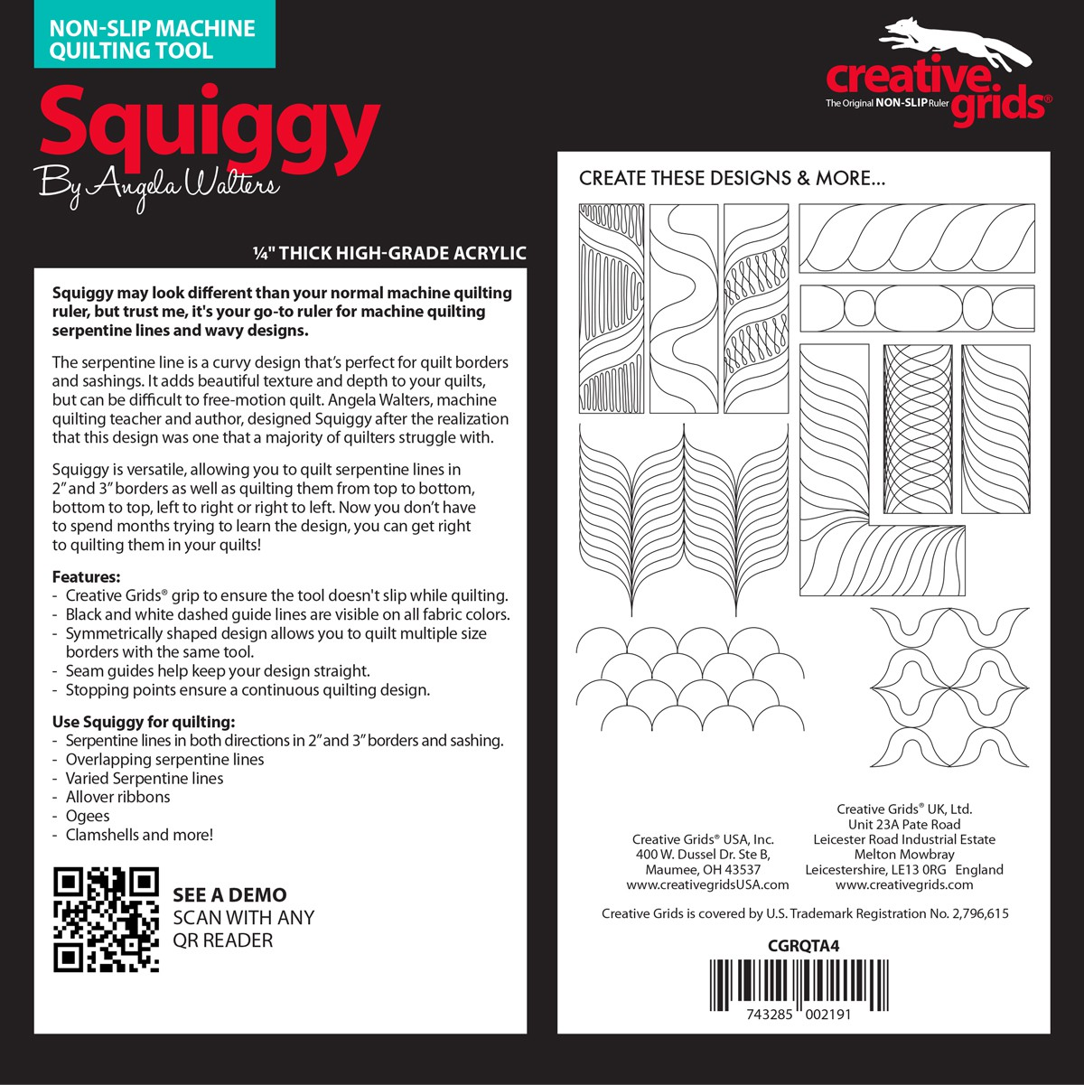 Creative Grids Machine Quilting Tool Squiggy By Walters