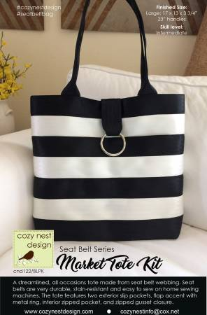 Market Tote Seat Belt Bag Kit in Black and White