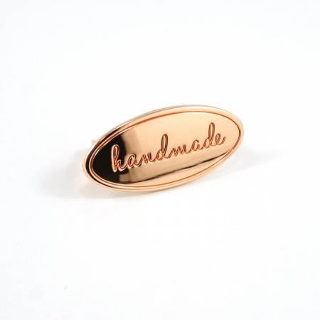 Metal Bag Label Oval handmade in Copper