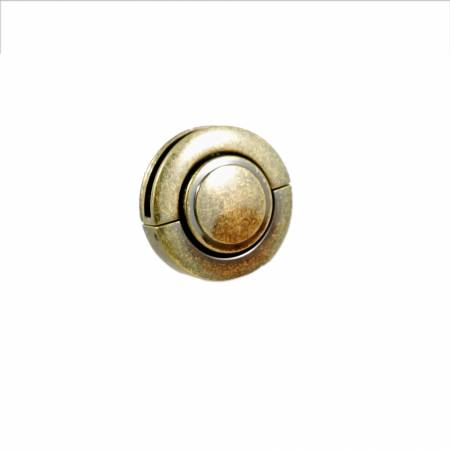 Large Button Lock Antique Brass