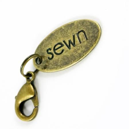Zipper Pull Sewn Antique Brass