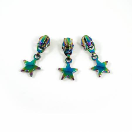 #5 Emmaline Slider with Star Dangle Pull 10 Pack Rainbow