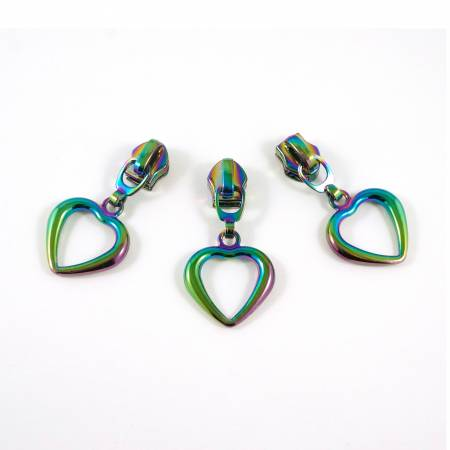 #5 Emmaline Slider with Hollow Heart Dangle Pull 10 Pack Rainbow