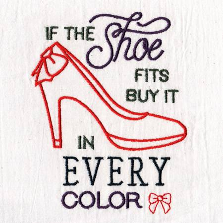 If the Shoe Fits Embroidered Dish Towel