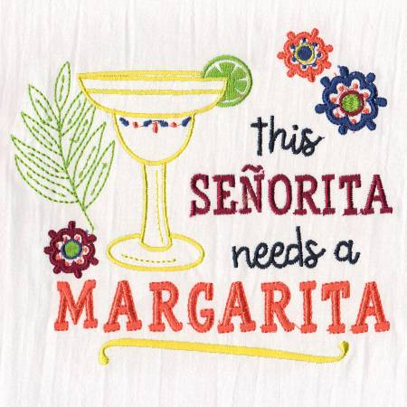 Margarita Embroidered Dish Towel
