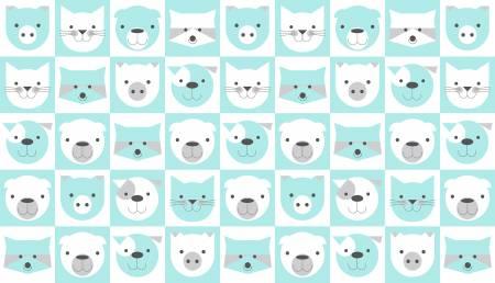 Aqua Animal Faces in 5 inch Blocks on Flannel