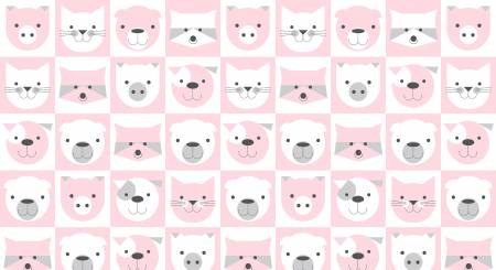 Pink Animal Faces in 5 inch Blocks on Flannel