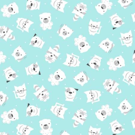 Aqua Tossed Animals on Flannel