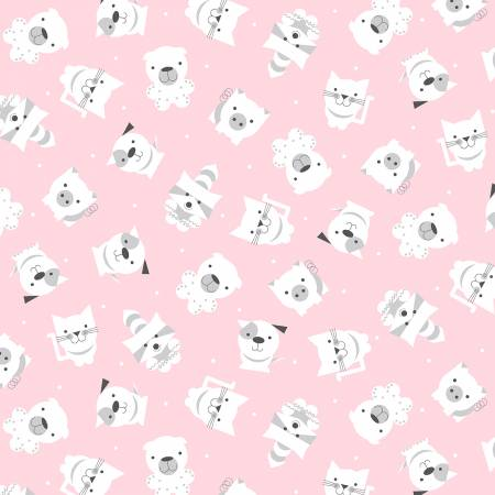 Pink Tossed Animals on Flannel