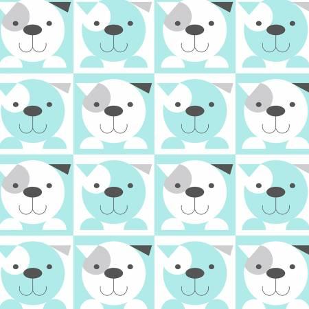 Aqua Puppy Faces in 3 inch Blocks on Flannel