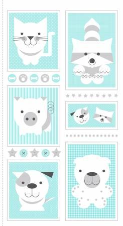 Aqua 24 Inch Animal Panel on Flannel