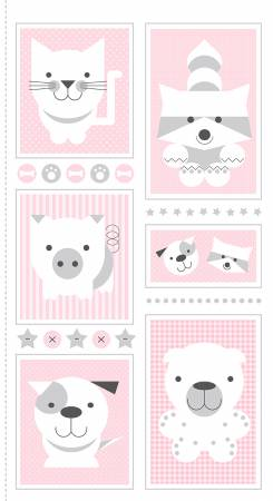 Pink 24 Inch Animal Panel on Flannel