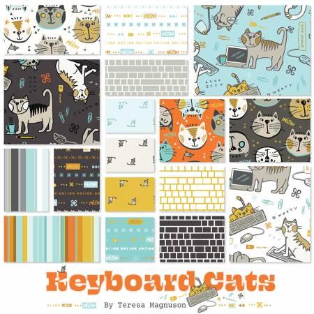 Fat Quarter Keyboard Cats, 17pcs/bundle