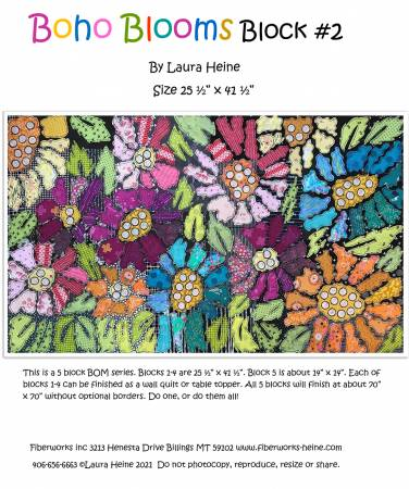 BOHO Blooms Block #2 Collage Pattern by Laura Heine