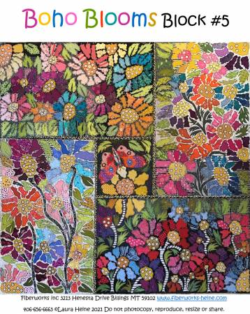 BOHO Blooms Block #5 Collage Pattern by Laura Heine