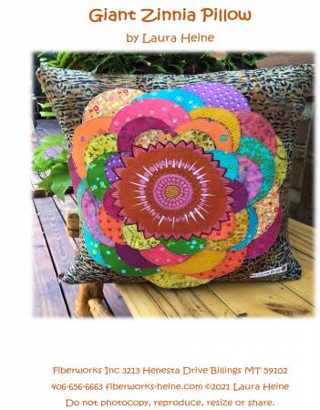 Giant Zinnia Pillow Collage Pattern by Laura Heine