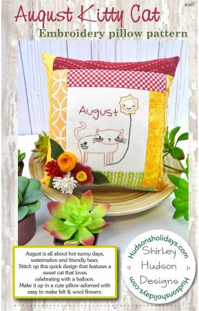 August Kitty Cat Embroidery Pillow Pattern