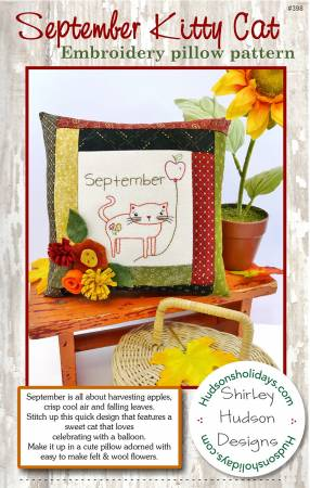 September Kitty Cat Embroidery Pillow Pattern