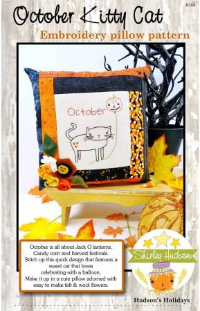 October Kitty CatEmbroidery Pillow Pattern