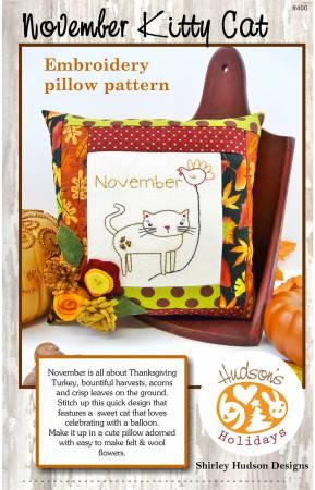 November Kitty CatEmbroidery Pillow Pattern