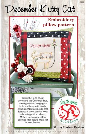 December Kitty Cat Embroidery Pillow Pattern