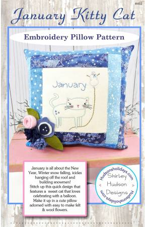 January Kitty Cat Embroidery Pillow Pattern